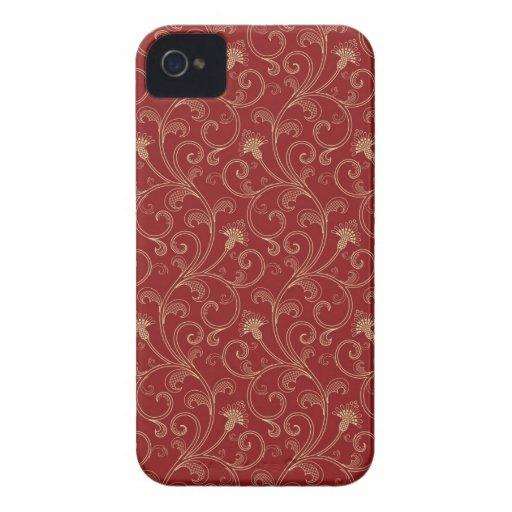 Red cream floral swirls elegant blackberry bold blackberry cases