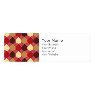 Red Cream Geometric Ikat Teardrop Circles Pattern Business Card