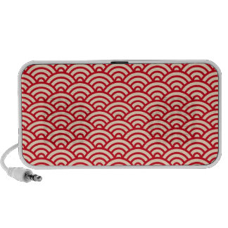 Red cream Japaneese abstract wave pattern speakers