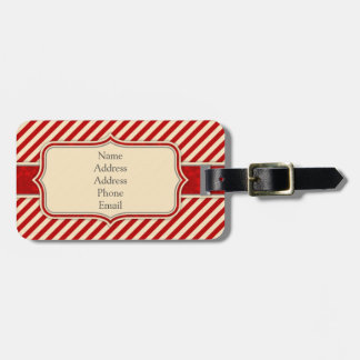 Red & Crème Monogram Luggage Tag