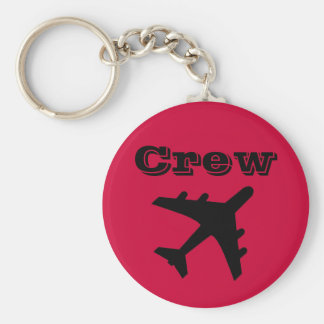 Red Crew Basic Round Button Key Ring