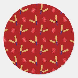Red cricket pattern round sticker