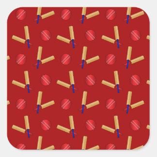Red cricket pattern square sticker