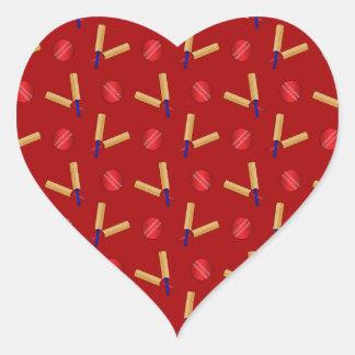 Red cricket pattern heart sticker