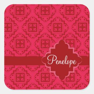 Red Crimson Arabesque Moroccan Graphic Design Square Sticker