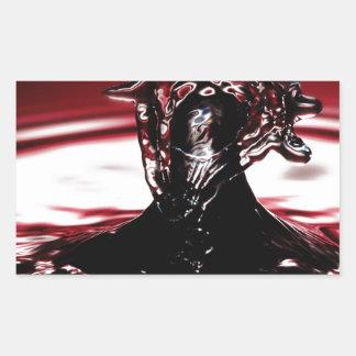 Red Crimson Water Drop Splash Rectangular Sticker