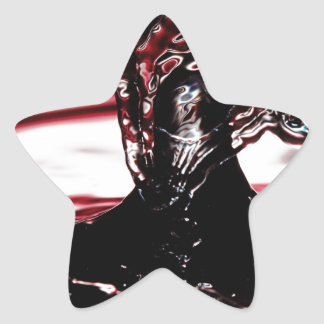 Red Crimson Water Drop Splash Star Sticker