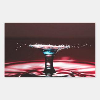 Red Crimson Water Droplet Splash Rectangular Sticker