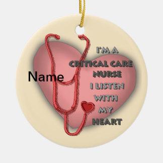 Red Critical Care Nurse Ceramic Ornament
