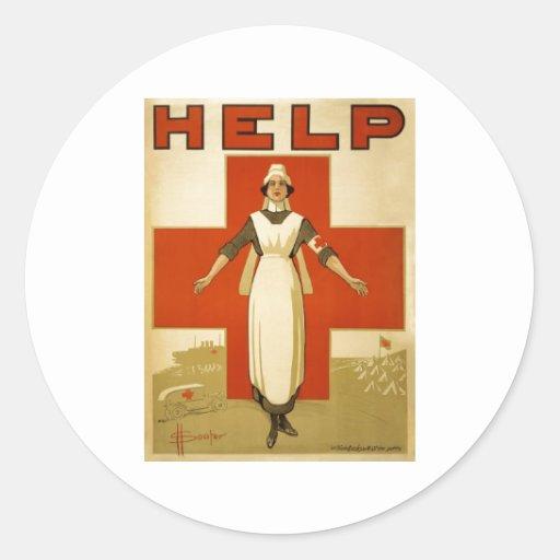 Red Cross Nurse Help Advertisement World War 2 Sticker