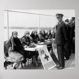 Red Cross Roll Call on Mayflower: 1926 Print