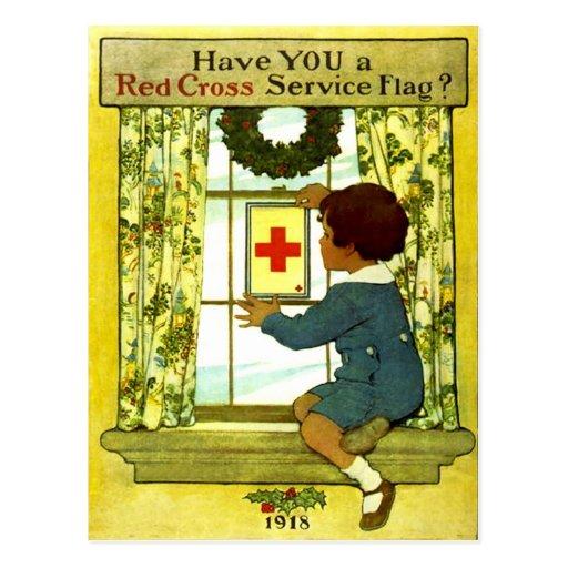 Red Cross Service Flag Postcard