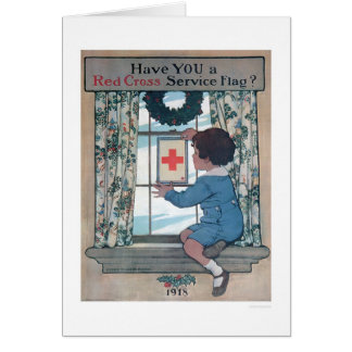 Red Cross Service Flag (US00202B) Greeting Card