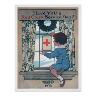 Red Cross Service Flag (US00202B) Poster