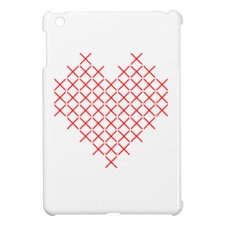 Red cross stitch heart iPad mini covers