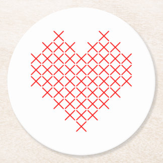 Red cross stitch heart round paper coaster