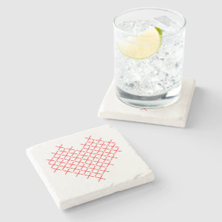 Red cross stitch heart stone coaster