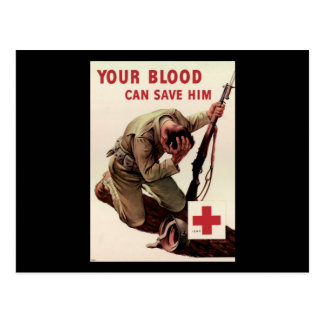 Red Cross Your Blood Can Save Him Postcard