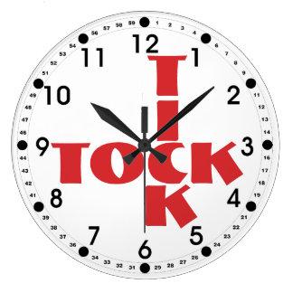 Red Crossword Tick Tock Text Large Clock