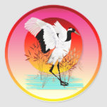 Red Crowned Crane and Setting Sun Stickers