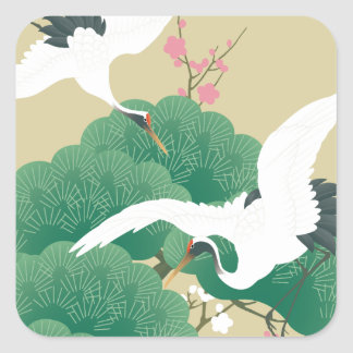red-crowned crane square sticker