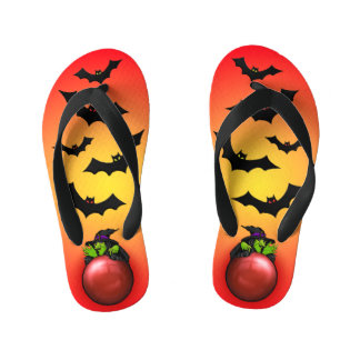 Red Crystal Ball Witch and Bats Kid's Thongs