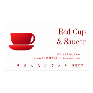 Red Cup & Saucer & Solid Back Business Card