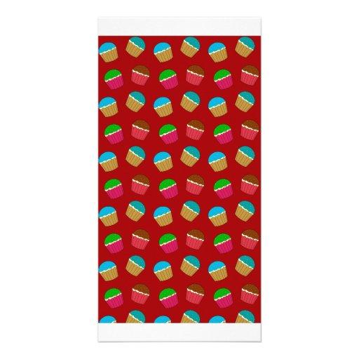 Red cupcake pattern customized photo card