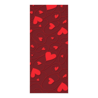 Red curly hearts 10 cm x 24 cm invitation card