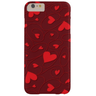 Red curly hearts barely there iPhone 6 plus case