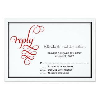 Red Curly Script Wedding Reply Card 9 Cm X 13 Cm Invitation Card
