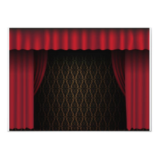 Red Curtain 11 Cm X 16 Cm Invitation Card