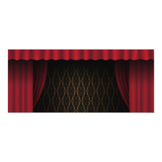 Red Curtain 10 Cm X 24 Cm Invitation Card