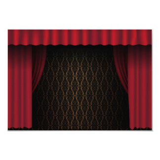 Red Curtain 9 Cm X 13 Cm Invitation Card