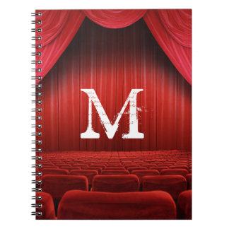 Red Curtain Theater Monogram Initial Note Book