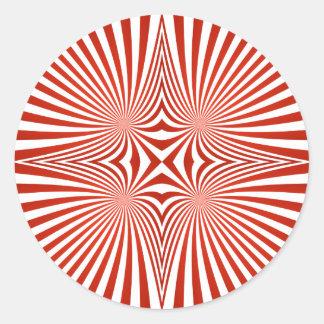 Red curved line pattern round sticker