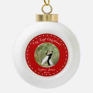 Red Custom First Christmas Together Ball Ornament