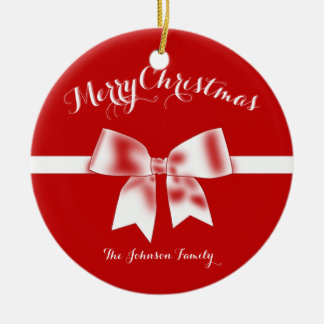 Red Custom Merry Christmas Ornaments With Bow
