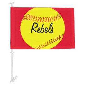 Red Custom Softball Car Flag
