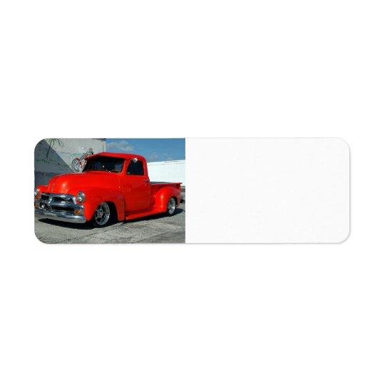 Red Customised Pickup Truck Return Address Label