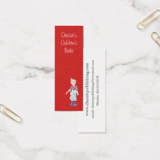 Red Cute  Child  illustration on Red Mini Business Card