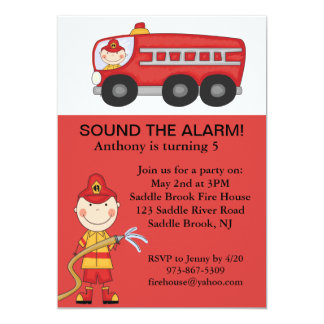 Red, Cute Fireman Boys Birthday Invitation