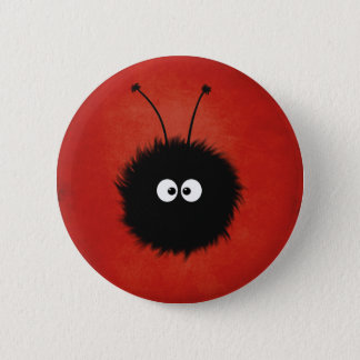 Red Cute Fluffy Dazzled Bug Character 6 Cm Round Badge