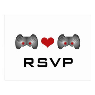 Red Cute Gamer RSVP Postcard