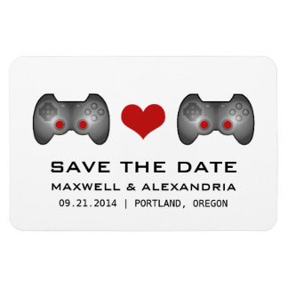 Red Cute Gamer Save the Date Magnet Vinyl Magnet