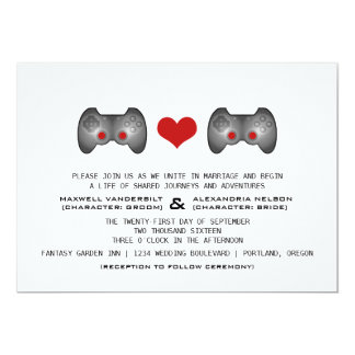 Red Cute Gamer Wedding Invite