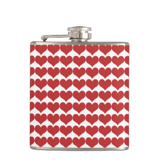 Red Cute Hearts Pattern Flask
