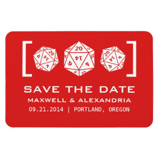 Red D20 Dice Gamer Save the Date Magnet