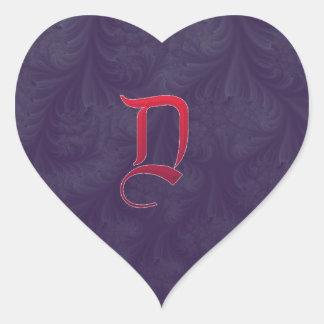 Red 'D' on purple embossed effect 3D fractal. Heart Sticker