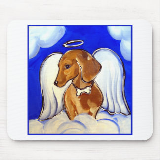 Red Dachshund Angel Mouse Pad